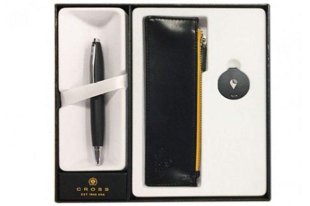 cross calais matte black ballpoint pen trackr pouch
