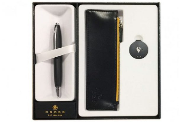 cross calais matte black ballpoint pen trackr pouch