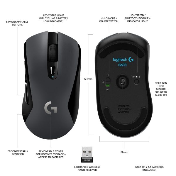 Logitech G603 Gaming Mouse - free yourself of all wires