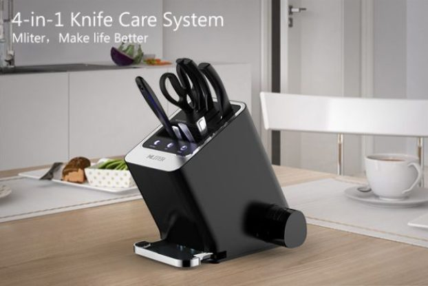 mliter multifunctioning knife block steriliser sharpener indiegogo crowdfunding