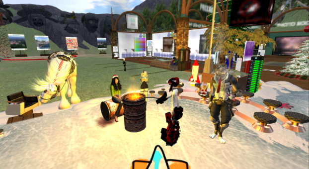 Just hanging out in NCI, with a wolf, a horse and a kitten whilst toasting marshmallows. Second Life.
