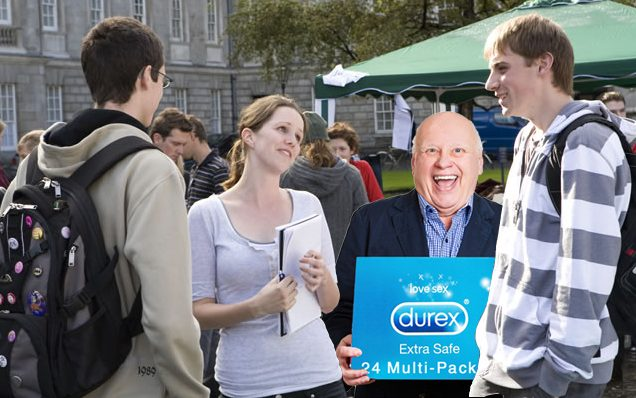 A mature fresher with a multipack of condoms