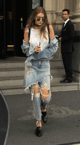 Gigi Hadid in ripped jeans