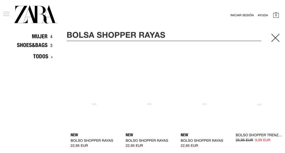 En Zara sigue disponible la bolsa de mercado