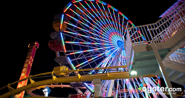 The solar-powered Ferris Wheel at the Santa Monica Pier in Los Angeles