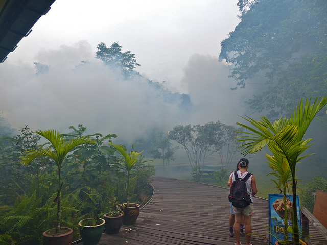 The thick fog of hardcore mosquito spray is a common sight in afflicted areas; Photo credit: Bernard Dupont