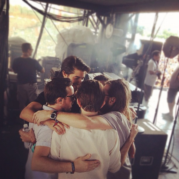 Oyster and Delta Spirit met up at Austin City Limits a few weeks ago. Here, the band huddles up before going on the ACL stage.