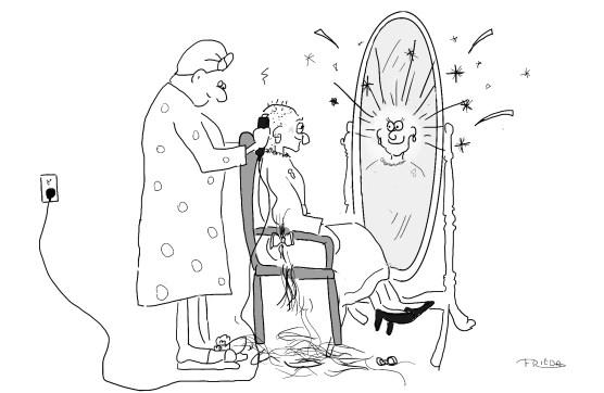 An Hasidic woman shaving a married woman's head