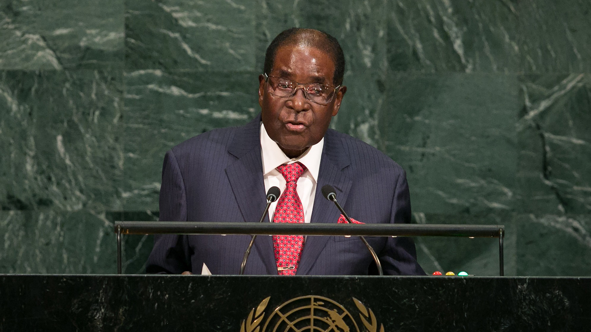 Zimbabwe's President Robert Gabriel Mugabe, Zimbabwe, at United Nations UN general assembly in New York29787447-159532
