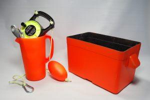 Kayak anchor, bailer and stuff box