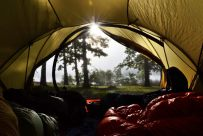 View from the tent: mist on the lake - Berry Bend, Harry S Truman Reservoir