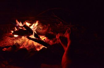 New Year's Eve - toasting tootsies by an open fire at Piney Creek Wilderness
