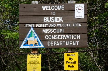 Busiek Sign at the South Trailhead. Hiking the Silver Trail at Busiek State Forest and Wildlife Area
