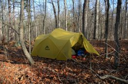 2010 MSR Mutha Hubba tent in Ozarks woodland on a ridge in the Bell Mountain Wilderness.