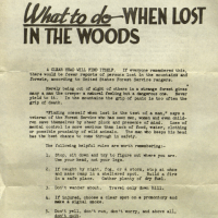 What to do when lost in the woods - 1946 Forest Service flyer