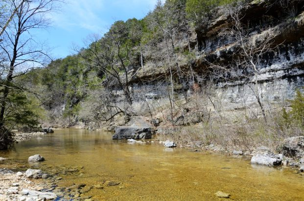 Lunch break at the Bluffs by Long Creek (looking down-stream)
