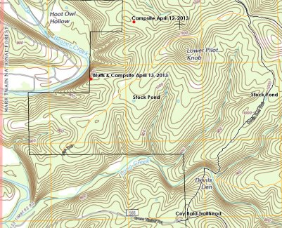 Topo Map showing the Devil's Den (West) Trail and the western end of the Pilot's Trail