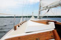 Photograph looking ahead on the sail boat Cornucopia, on Stockton Lake in the Missouri Ozarks