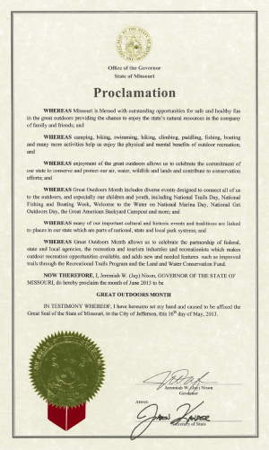 Missouri Great Outdoors Month Proclamation - May 2013