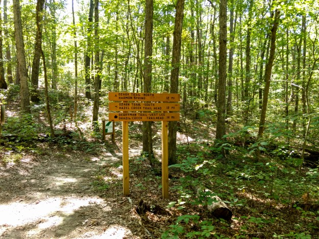 Trail Sign for the Ozark / Berryman Trails