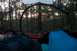 Sunrise through the bug mesh on our tent