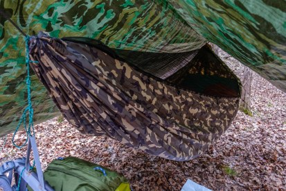 My new Chameleon hammock all ready for the night. Nice camo!