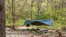 Dutchware Chameleon Hammock set up at around 24' between trees. I had fun getting the suspension high enough for the span.