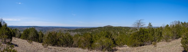 View to the west from near the top of the Upper Pilot Knob. The Lower Pilot knob is the pointy hill in the distance. Copyright © 2020 Gary Allman, all rights reserved.