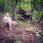 Relaxing in Piney Creek Wilderness - I put my wet shirt on for this picture. It came off again as soon as I'd taken it. Piney Creek Wilderness - Day Two. Copyright © 2020 Gary Allman, all rights reserved.