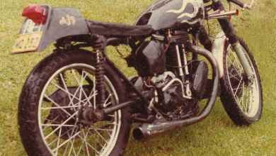 Photo of Riding the 1950 AJS 500 cc single cylinder motorbike