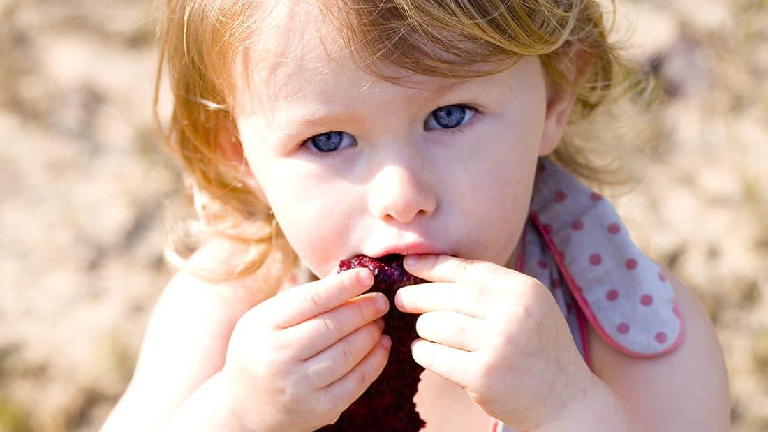 Mila eatingBlueberry Fruit Roll