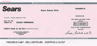 49.50-cent check from Sears