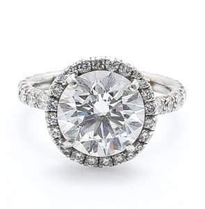round center diamond pave engagement ring