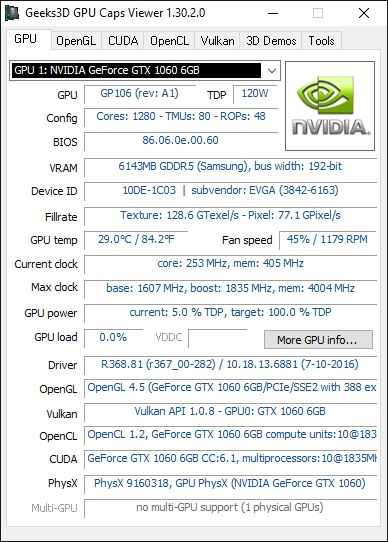 EVGA GeForce GTX 1060 Superclocked 6GB GDDR5 Review Geeks3D