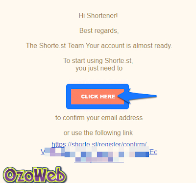 email confrm with shorte.st