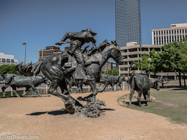 Dallas Texas, Pioneer Plaza, Shawnee Trail Cattle Drive Sculpture, Cattle Drive Sculpture, Robert Summers