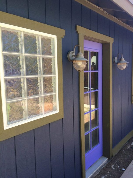 CJ Abraham's Studio Entrance after siding restoration and paint, Philabaum Professional Painting, Tucson, AZ
