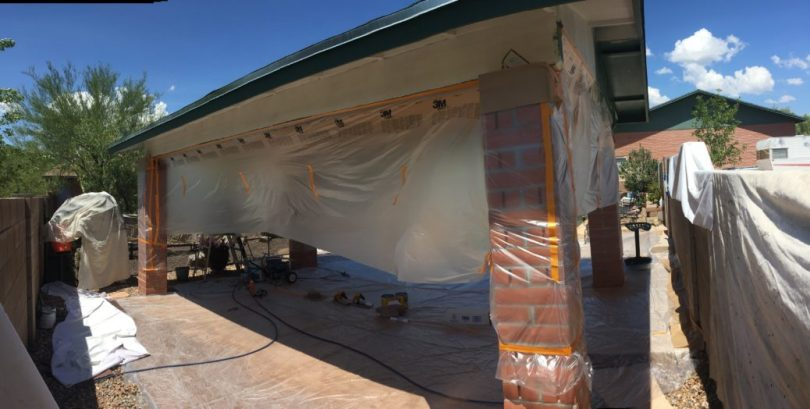 Weber ramada, primed and ready to paint, Philabaum Professional Painting, Tucson, AZ