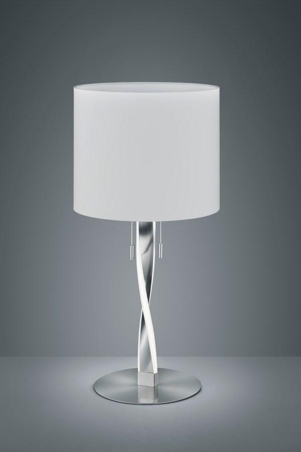 Lampe de table Design metale & tissu, Nickel Mat, 2x SMD LED, 3W · 2x 300lm, 3000K, sans ampoule