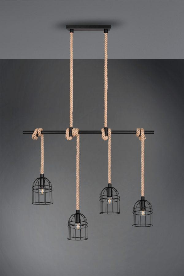 Suspension Vintage Cordes & Metale noir, sans ampoule(s)