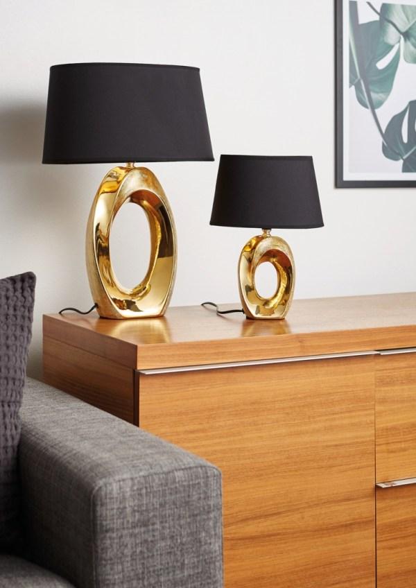 Lampe de table en céramique Or & tissu Noir, Grand Modèle, sans ampoule(s)
