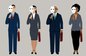 four job candidates with faces hidden to display interviewer bias