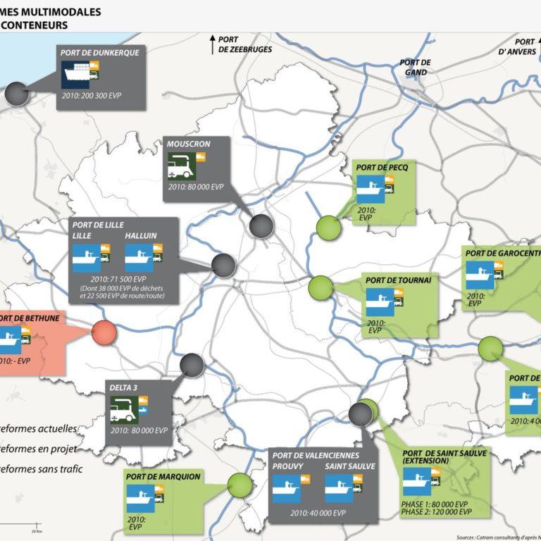 Carte des plateformes multimodales dans l'aire métropolitaine de Lille - Guillaume Sciaux - Cartographe professionnel