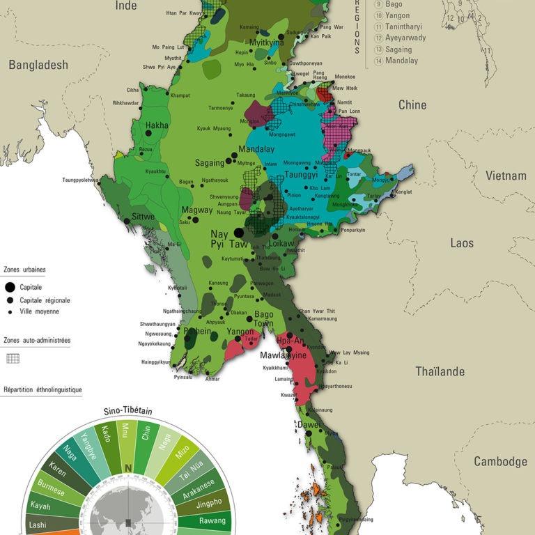 Myanmar- Carte Ethno-linguistique - Guillaume Sciaux - Cartographe professionnel
