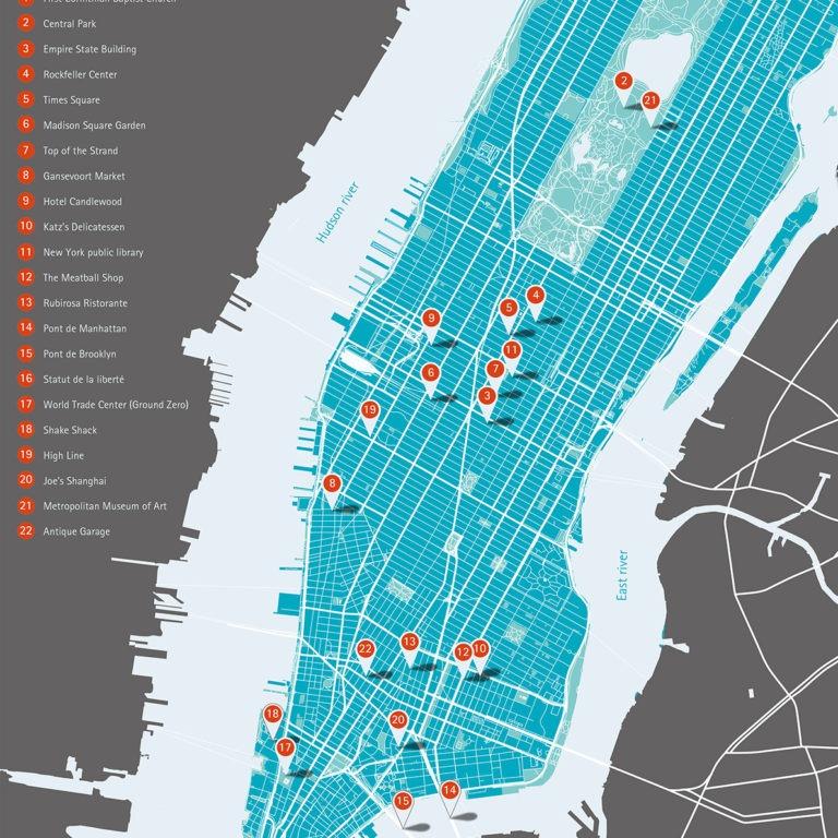 Carte Manhattan - Guillaume Sciaux - Cartographe professionnel