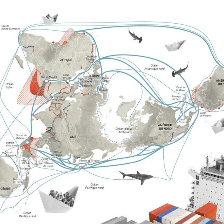 Atlas des futurs du monde - Routes maritimes - Guillaume Sciaux - Cartographe professionnel