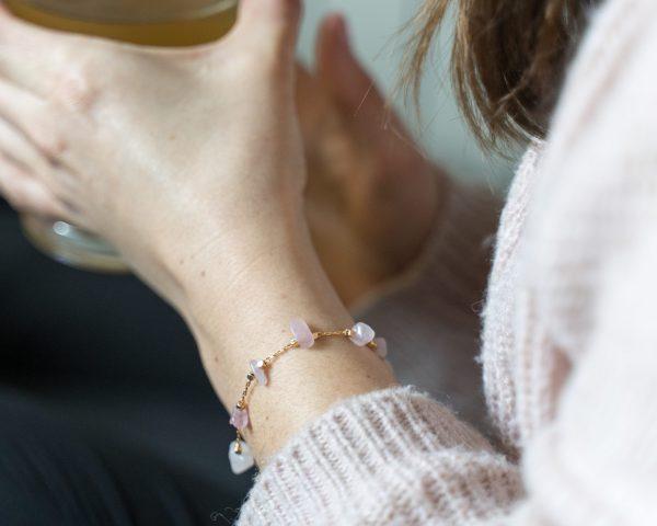 Bracelet fin quartz rose