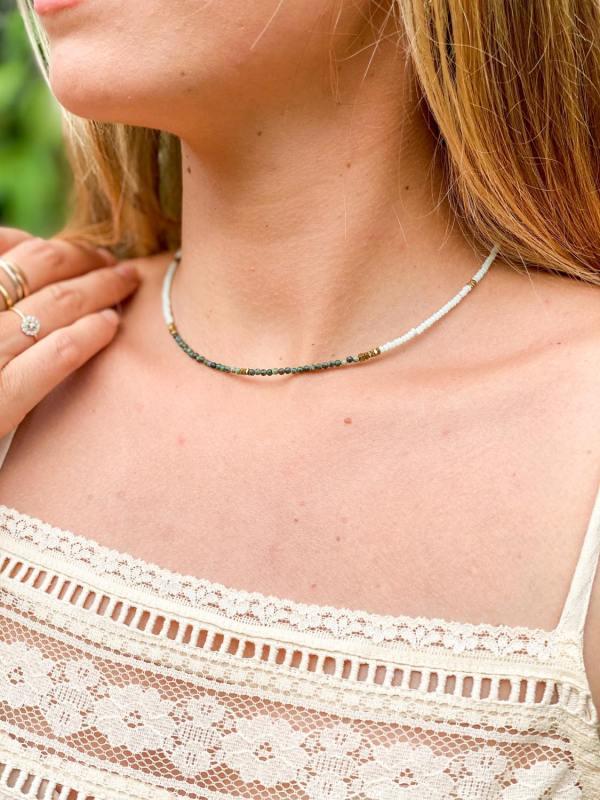 Ras de cou perles de verre et jaspe africain