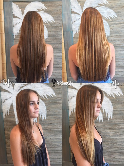 Stylist Mary Dennis creates a beautiful balayage on long brunette hair.