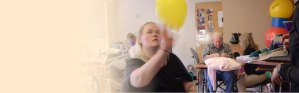 Webpage Slider. Resident Playing With Balloon
